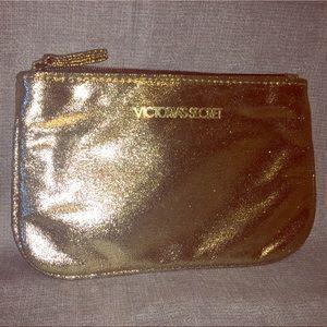 Victoria's Secret's Golden Glitter Makeup Pouch
